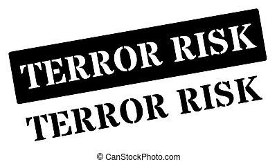 Terror risk black rubber stamp on white Print, impress,...