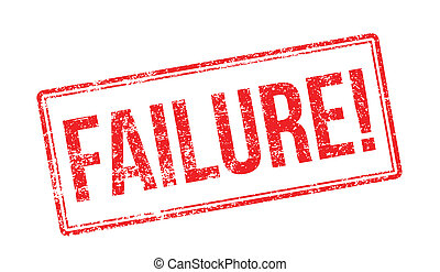 Failure red rubber stamp on white. Print, impress,...