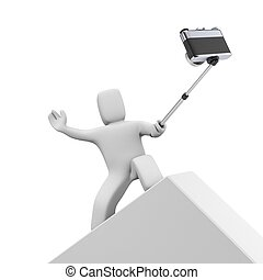 3d person taking an extreme selfie 3d illustration