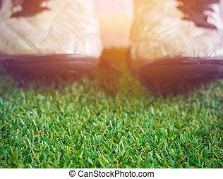 pasto o césped, viejo, zapatos, espacio, fangoso, fútbol,...