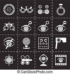 Vector Optometry icon set on black background