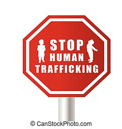 stop humain trafficking illustration with children in...