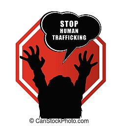 stop humain trafficking sign illustration with child...