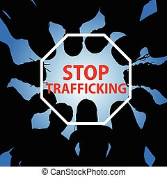 stop trafficking illustration with people