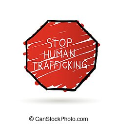 stop trafficking cartoon illustration in color