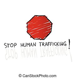 stop trafficking sign cartoon illustration in colorful