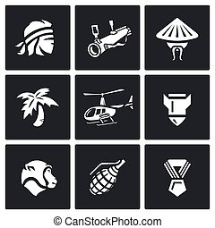 Vector Set of The Vietnam War Icons - Man, head, weapon,...