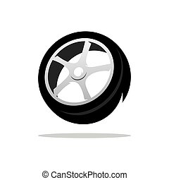 Vector Tyre Cartoon Illustration - Black Tire tread Isolated...