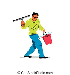 Vector Window washer Cleaning service Cartoon Illustration -...