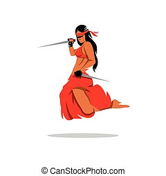 Vector Woman Warrior Cartoon Illustration - A woman with two...