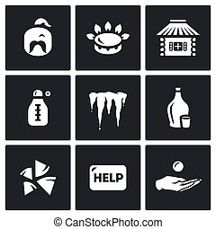 Vector Set of Ukraine issues Icons. Cossack, Gas, House,...