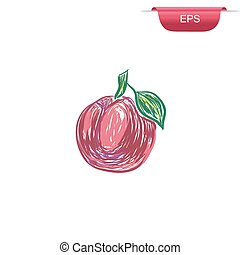 prune, design element, sketch, vector illustration