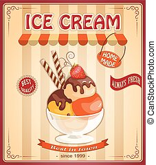 vintage background with home made ice cream - Vector...