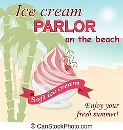 ice cream parlor on the beach - Vector illustration banner...