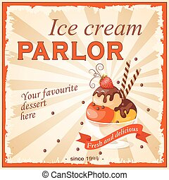 ice cream parlor - Vector illustration banner with...