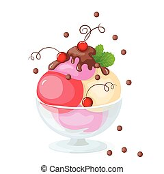 isolated ice cream on white with currant - Vector...