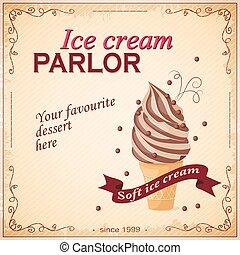 ice cream parlor - Vector illustration banner with chocolate...