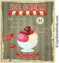 vintage banner with scoop cherry ice cream - Vector...