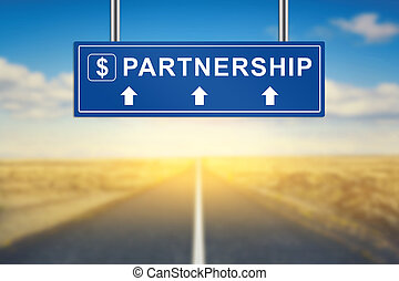 partnership words on blue road sign