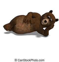 cute and funny toon bear 3D rendering with clipping path and...