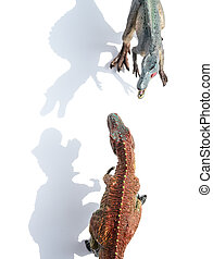 cima, vista, tyrannosaurus, y, spinosaurus, en, blanco, con,...