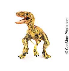 Velociraptor, juguete, amarillo, Plano de fondo, frente,...