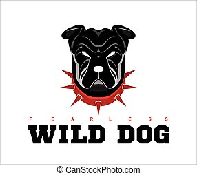 Bulldog. rottweiler. - Dog head. Wild dog. Black wild dog....
