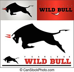 Bull. Charging Black Bull with the Bloody Horns.