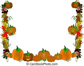 pumpkin patch border frame in 3d on white