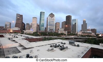 Houston downtown at dusk - Skyline of Houston downtown at...