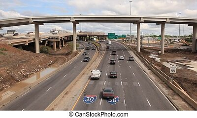 Traffic on the Interstate 30 highway near Dallas city Texas,...