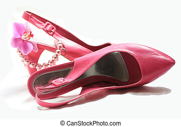 pair of pink high heel shoes