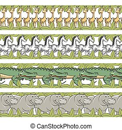 Baby animals seamless borders set