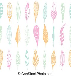 Feathers pastel colors seamless pattern. - Feathers pastel...