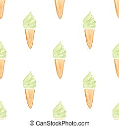 Watercolor strawberry ice cream seamless pattern in vector....