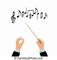 Conductor hands concept. Vector choir conductor music...