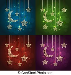 ramadan greeting cards - Set of ramadan greeting cards on...