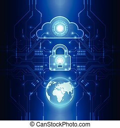 vector digital global security cloud technology concept,...