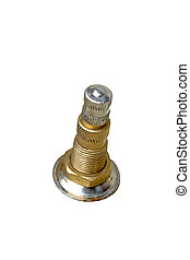 Air pressure valve - new car valve on white background