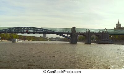 Sunny spring day river Moscow trip hyperlapse time lapse -...