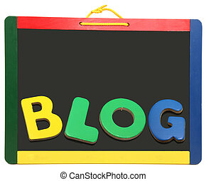 Blog Spelled Out On Chalkboard - BLOG spelled out with...