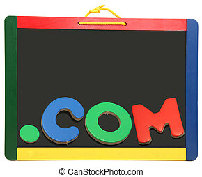 Top Level Domain Dot COM On Chalkboard - Top level domain...