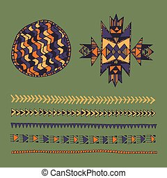 Tribal native American hand drawn set of symbols and design...