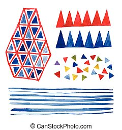 Watercolor hand drawn geometrical elements for your design.
