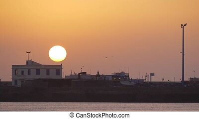 small local seaport of Essaouira at sunrise in Morocco