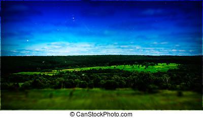 Horizontal vintage summer landscape memories postcard film scan