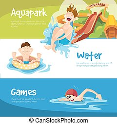 The cheerful boys rides on water hills - Vector illustration...