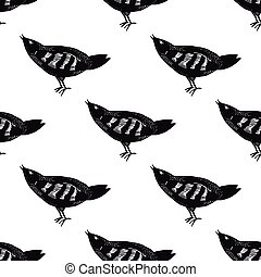 Hand drawn bird pattern seamless.