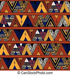 Tepee seamless pattern. Wigwam native american summer tent...