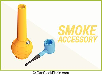 smoke accessories vector 3d illustration - smoke accessories...